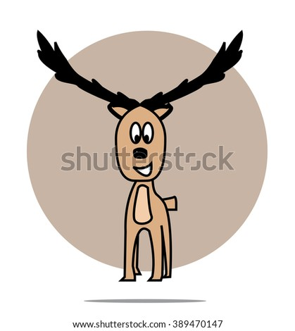 Illustration of a deer with circle background - stock photo