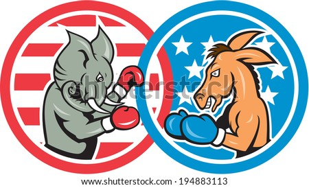 Illustration of a democrat donkey mascot of the democratic grand old party gop and republican elephant boxer boxing set inside two circle with American stars and stripes done in cartoon style. - stock photo
