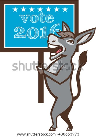 Illustration of a democrat donkey mascot of the democratic grand old party gop smiling holding a sign placard with Vote 2016 and stars set on isolated background done in cartoon style.  - stock photo