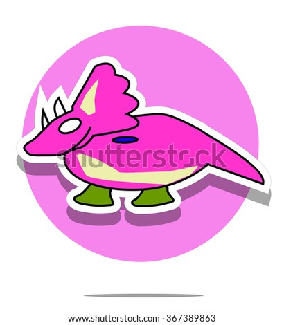 Illustration of a dinosaur with pink circle background - stock photo