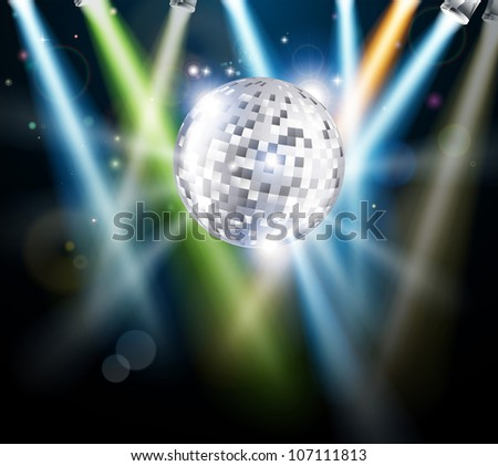 Illustration of a disco mirror ball or glitter ball with disco lights - stock photo