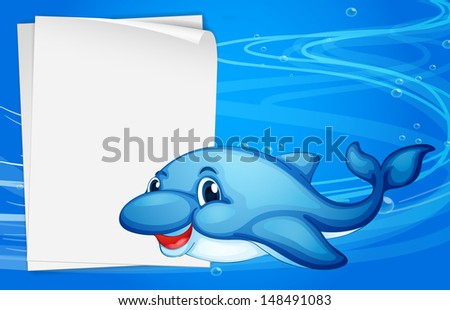 Illustration of a dolphin beside an empty paper under the sea - stock photo