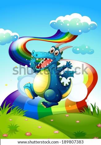 Illustration of a dragon at the hilltop and a rainbow in the sky - stock photo