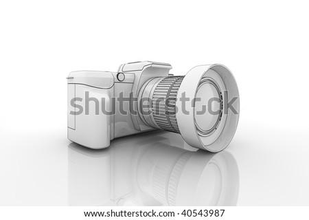 Illustration of a dslr camera on a reflective surface - stock photo