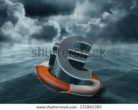 Illustration of a euro symbol being saved from stormy weather - stock photo