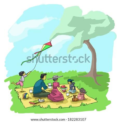 Illustration of a family having picnic - stock photo