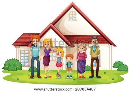 Illustration of a family in front of their big house on a white background - stock photo