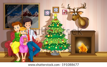 Illustration of a family inside the room with a christmas tree - stock photo