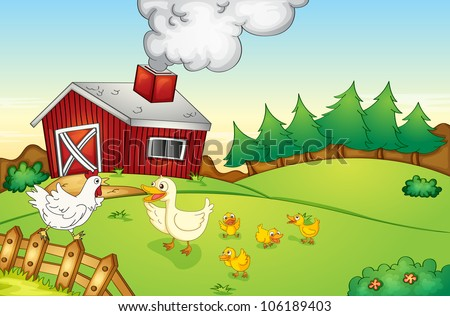illustration of a farm house, hen and duck - stock photo