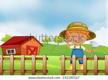 Illustration of a farmer holding a hoe inside the wooden fence with barn - stock photo
