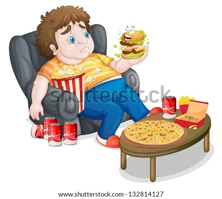Illustration of a fat boy eating on a white background - stock photo