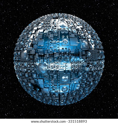 Illustration of a fictional universe with space battle ship and stars - stock photo