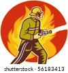 illustration of a Firefighter fireman with water hose fighting fire viewed from the side with flames in background. - stock photo