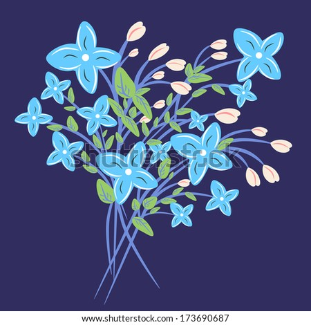 Illustration of a floral bouquet on a dark blue background./Flowers - stock photo