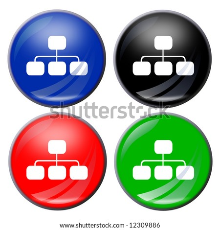 illustration of a flowchart button in four colors - stock photo