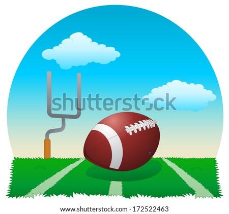 illustration of a football ball on field - stock photo