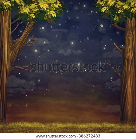 Illustration of  a forest  with  stars   at night sky  - stock photo
