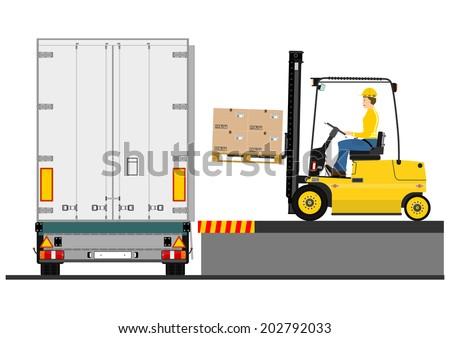 Illustration of a forklift truck during loading the trailer. Raster - stock photo