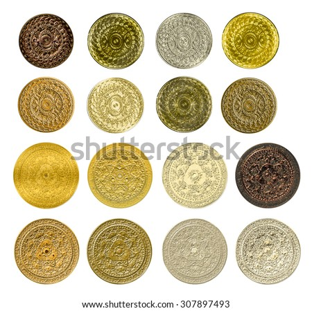 illustration of a fractal set of gold silver bronze coins medals - stock photo