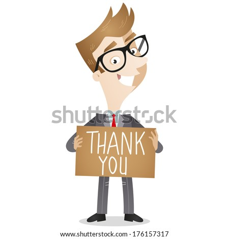 Illustration of a friendly cartoon businessman holding a brown sign that says 'thank you' (vector also available). - stock photo