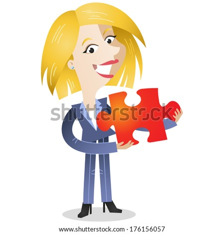 Illustration of a friendly looking cartoon business woman holding a red jigsaw piece (vector also available). - stock photo