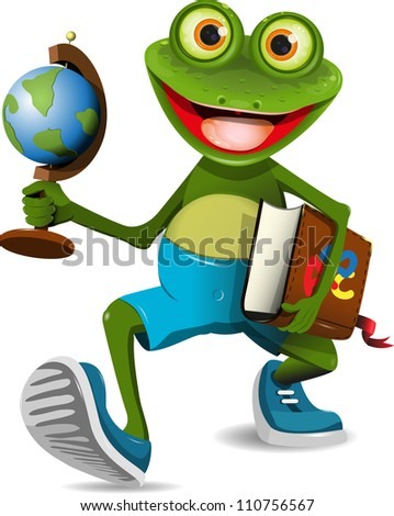illustration of a frog student with a globe and a book - stock photo