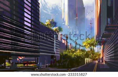 Illustration of a futuristic city,digital painting - stock photo