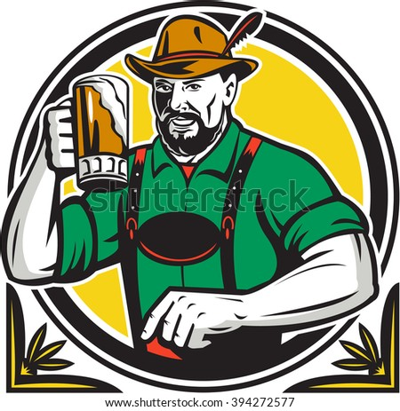 Illustration of a German Bavarian beer drinker raising beer mug for Oktoberfest toast wearing lederhosen and German hat set inside circle done in retro style. - stock photo