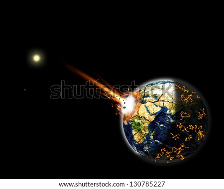 illustration of a giant asteroid impacted on Earth Africa creating massive explosion, fire and lava burning around the world. Black background. Elements of this image furnished by NASA - stock photo