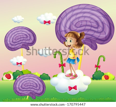 Illustration of a girl above the cloud surrounded with spiral candies - stock photo
