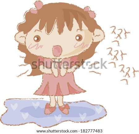 Illustration of a girl clapping her hands - stock photo