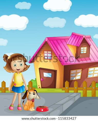 illustration of a girl, dog and house in a beautiful nature - stock photo
