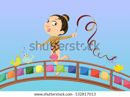 Illustration of a girl holding a stick with ribbon - stock photo