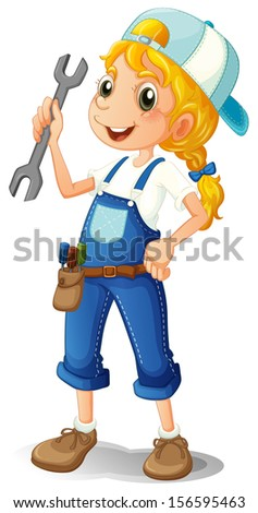 Illustration of a girl holding a tool on a white background  - stock photo