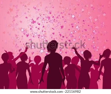 Illustration of a girls enjoying a fabulous party - stock photo