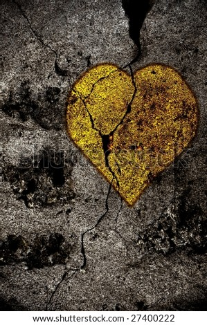 Illustration of a golden heart on grunge background - stock photo