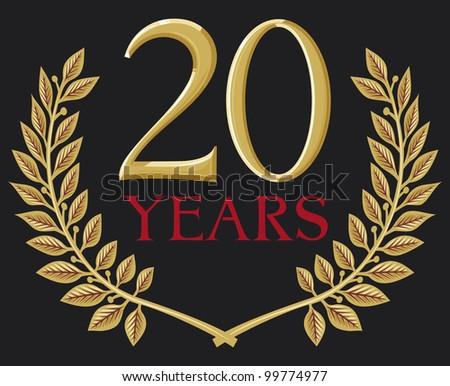 illustration of a golden laurel wreath - 20 years (20 years anniversary) - stock photo