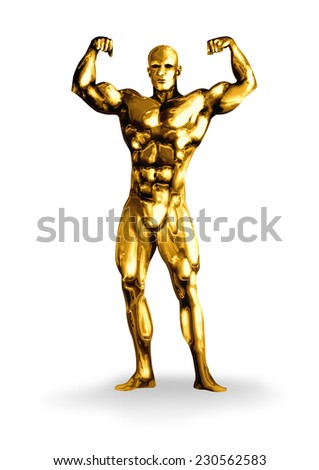 Illustration of a golden man with muscular body  - stock photo