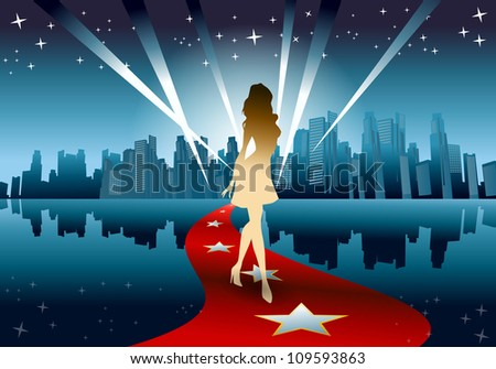 illustration of a golden silhouette woman walking from city - stock photo