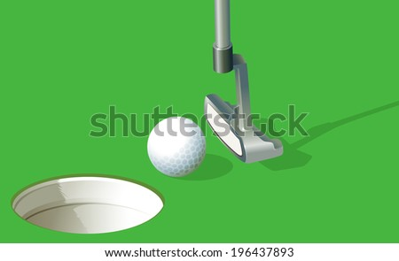 Illustration of a golf ball near the hole - stock photo