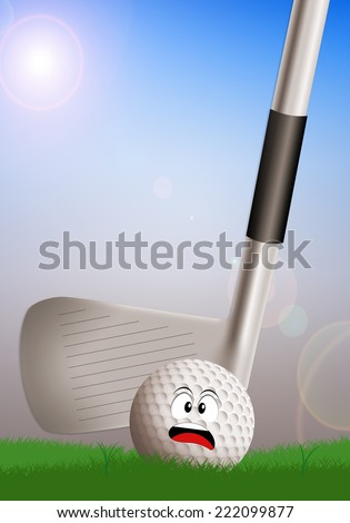 illustration of a golf club with ball - stock photo
