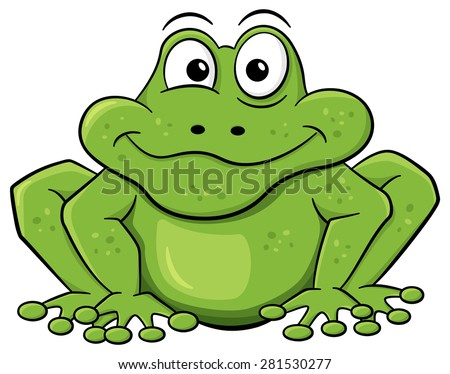 illustration of a green cartoon frog isolated on white - stock photo