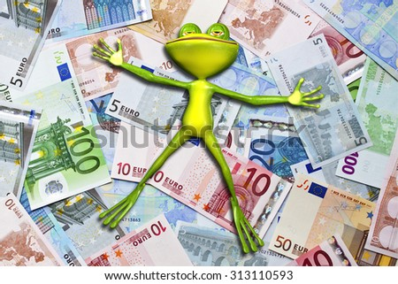 Illustration of a green frog in money - stock photo