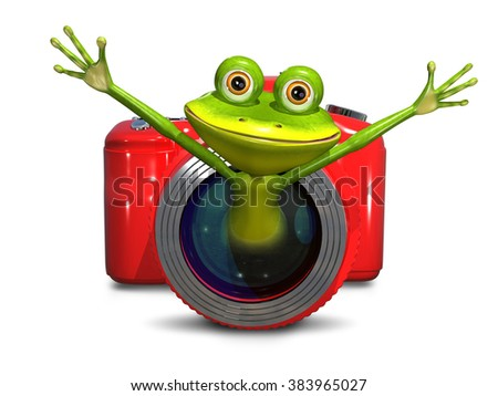 Illustration of a green frog in red camera - stock photo
