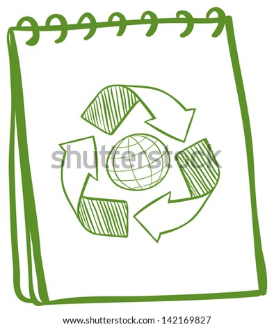 Illustration of a green notebook with a drawing of the recycle symbol on a white background - stock photo