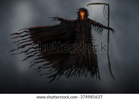 Illustration of a Grim Reaper or fantasy evil spirit. Digital painting. - stock photo