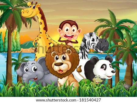 Illustration of a group of animals at the riverbank with coconut trees - stock photo