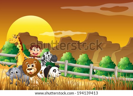 Illustration of a group of animals at the woods - stock photo