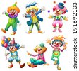 Illustration of a group of clowns on a white background - stock photo