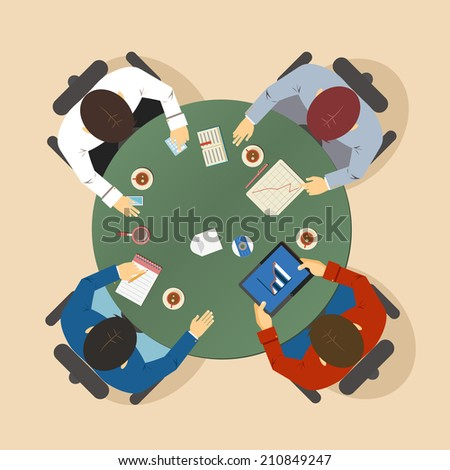 illustration of a group of four businesspeople having a meeting seated around a table in a team discussion and brainstorming session viewed from above - stock photo